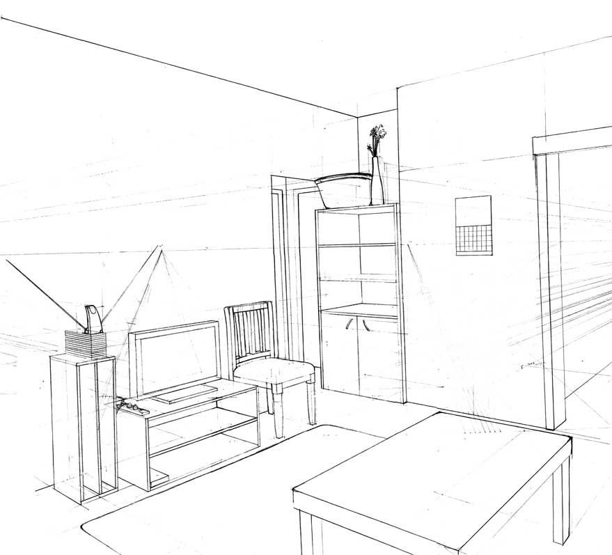 The gallery for one point perspective drawing of a bedroom for Drawing room